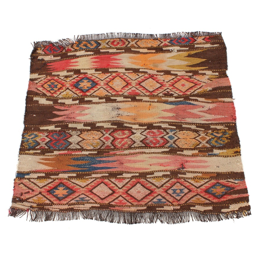 2'8 x 2'6 Handwoven Turkish Kurdish Village Kilim Rug, 1900s
