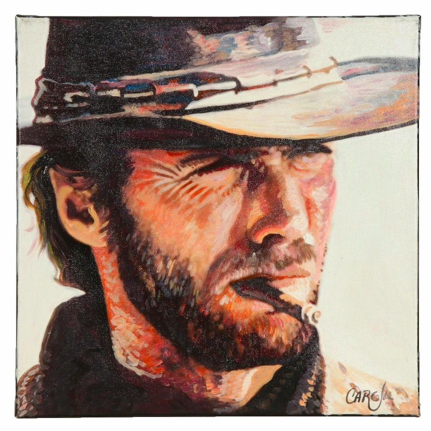 Chris Cargill Acrylic Painting of Clint Eastwood