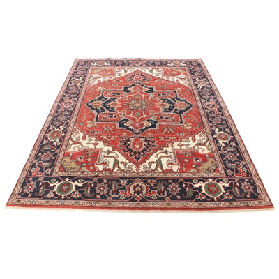 9'1 x 12'3 Hand-Knotted Indo-Persian Heriz Serapi Room Size Rug, 2010s