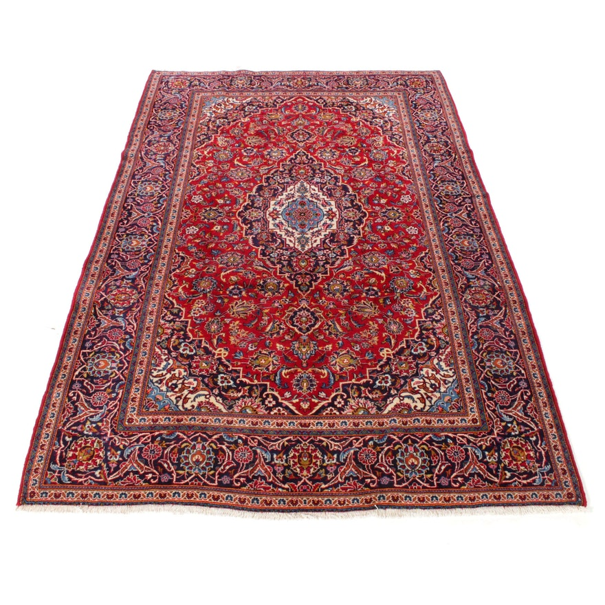 6'9 x 10'6 Hand-Knotted Persian Kashan Rug, 1970s
