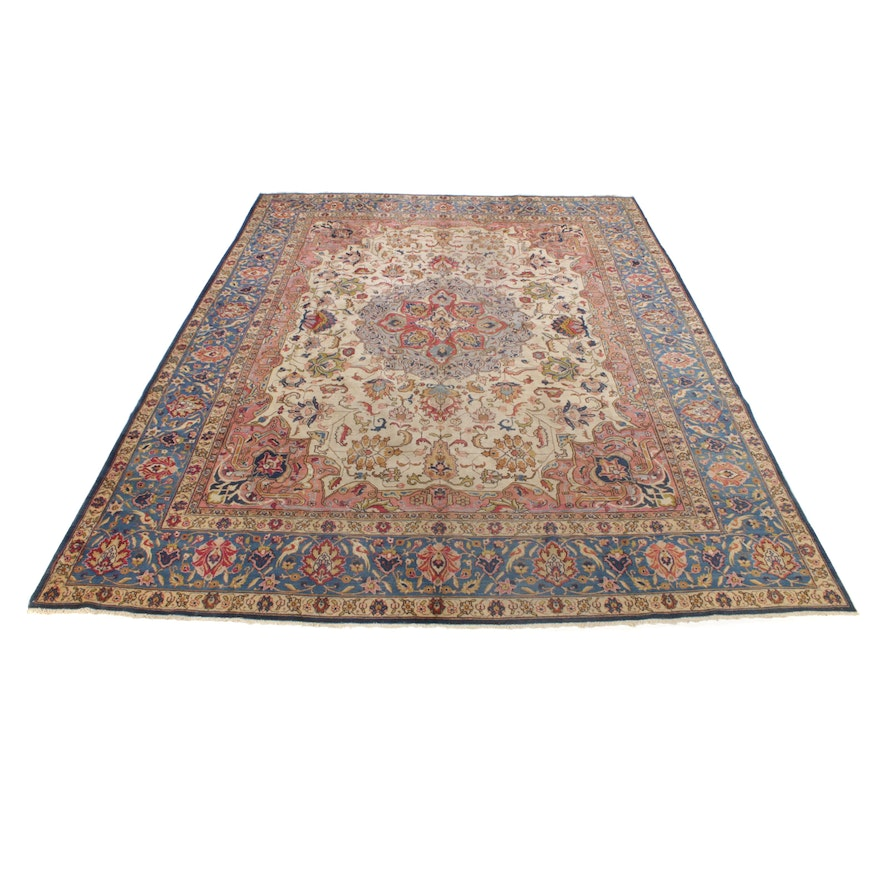 9'5 x 12'8 Hand-Knotted Persian Tabriz Room Size Rug, 1960s
