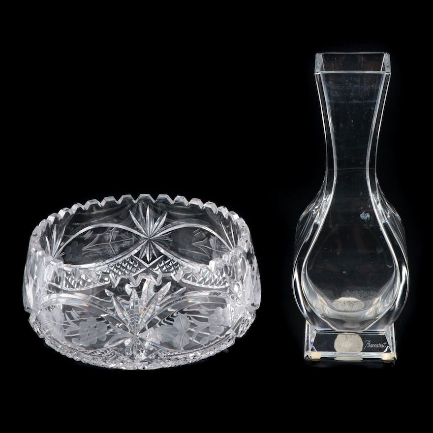 Baccarat Crystal Vase with Cut Crystal Centerpiece Bowl