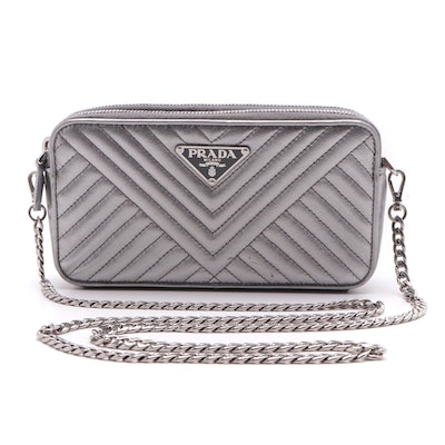 Prada Mini Crossbody in Quilted Metallic Silver Leather with Chain Strap