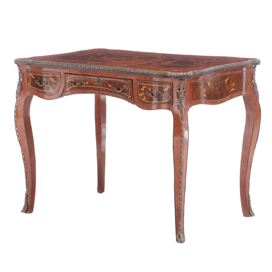 Louis XV Style Gilt Metal-Mounted Kingwood and Marquetry Bureau Plat