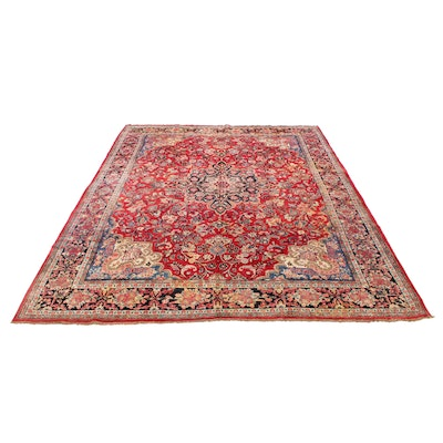 10'6 x 13'4 Hand-Knotted Persian Mahal Room Size Rug, 1950s