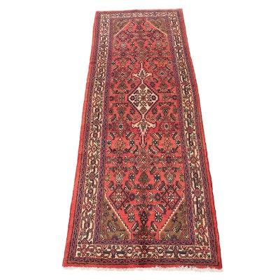 3'7 x 10'1 Hand-Knotted Persian Zanjan Wide Runner, 1970s