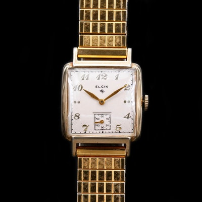 Vintage Elgin Gold Tone Stem Wind Wristwatch, 1949