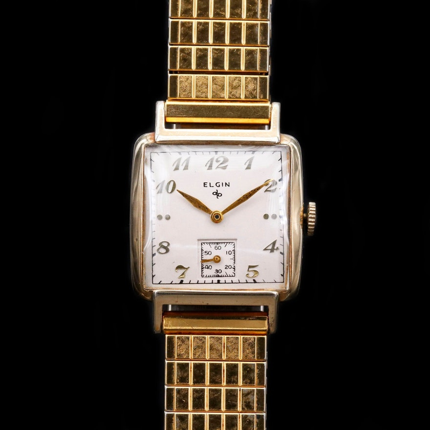 Vintage Elgin Gold Tone Stem Wind Wristwatch, 1949