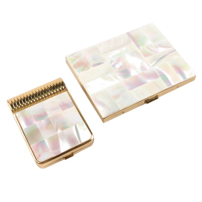 Evans Checkerboard Mother-of-Pearl Compact with Cigarette Case