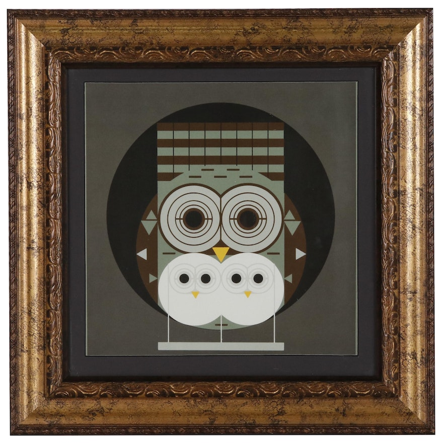 "Offset Lithograph after Charley Harper ""Family Owlbum"""