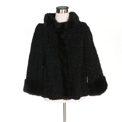 Black Faux Persian Lamb Fur Jacket,  Vintage