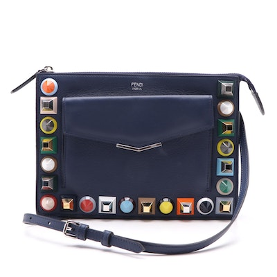 Fendi Multicolor Studded Blue Leather Crossbody Pouch