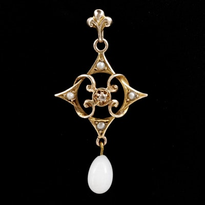 Victorian 10K Diamond, Pearl and Glass Drop Pendant