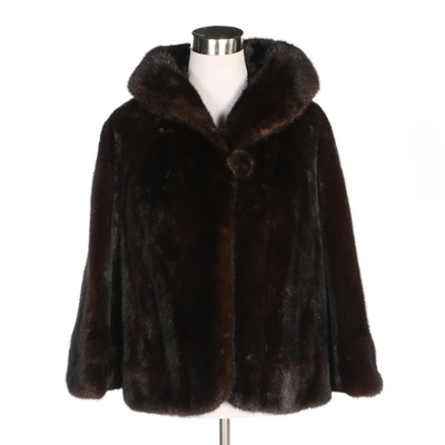 Black Pearl Mink Fur Cropped Jacket, Vintage