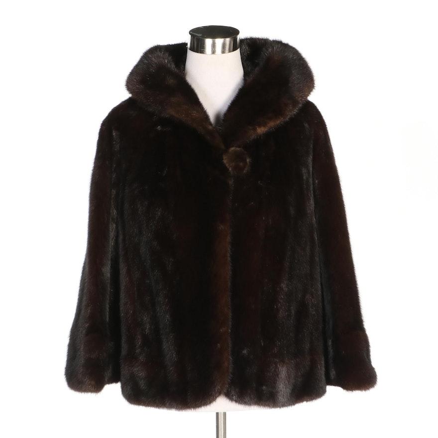 Black Pearl Mink Fur Cropped Jacket, Vintage
