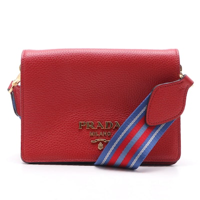 Prada Crossbody Bag in Red Vitello Daino Leather