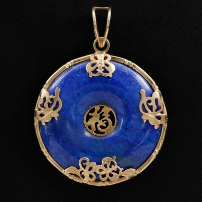"14K Gold Lapis Lazuli ""Good Fortune"" Bi Disk Pendant"