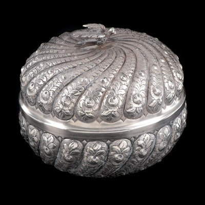 Continental Repousse 800 Silver Box with Bird Finial