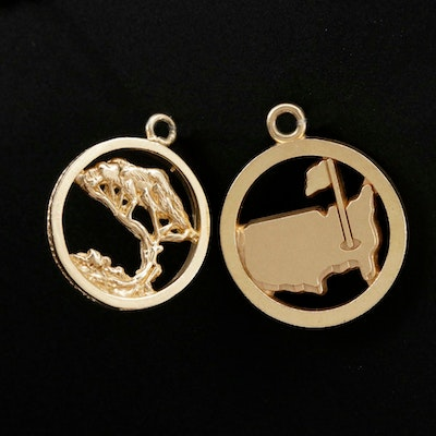 14K Gold Charms Depicting Tree and United States of America