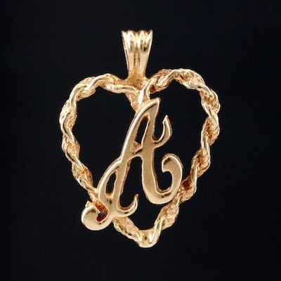 "14K Yellow Gold ""A"" in Heart Pendant"