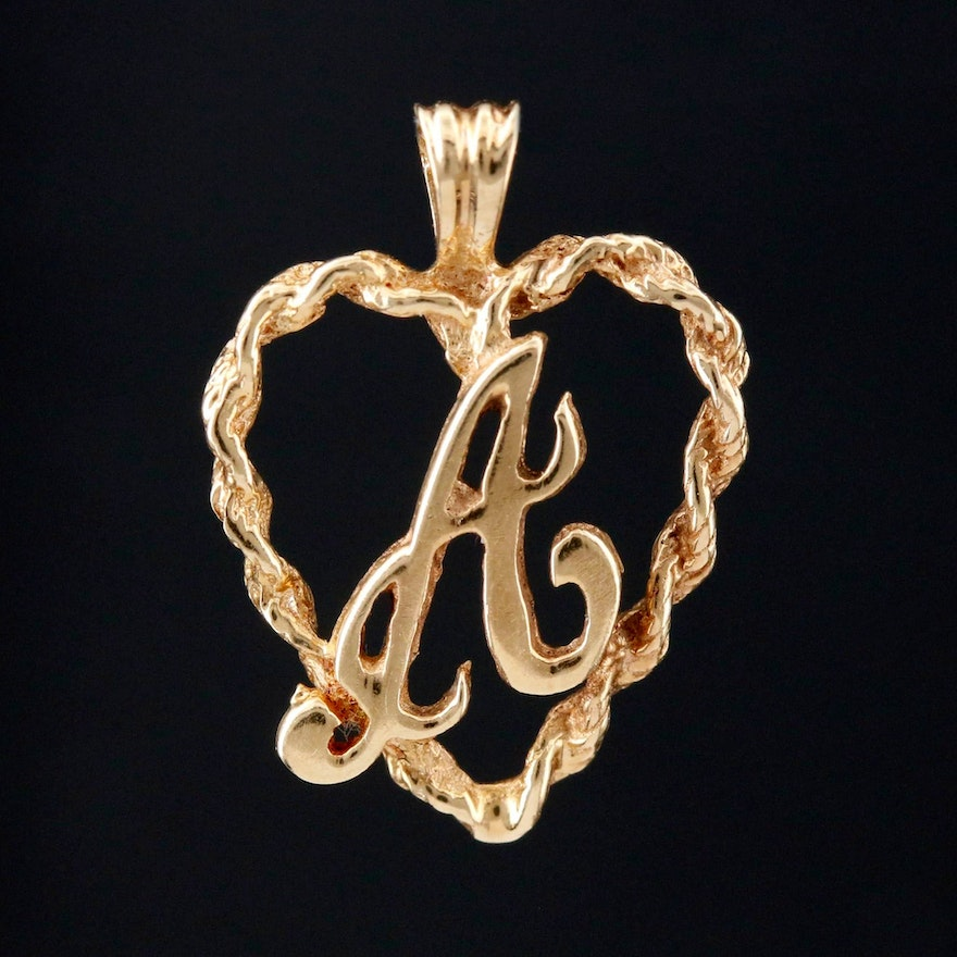 """14K Yellow Gold """"A"""" in Heart Pendant"""