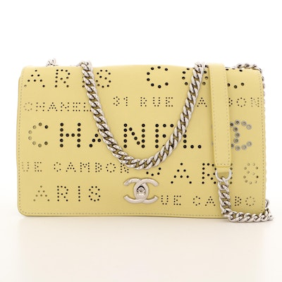 Chanel Yellow Perforated Calfskin Logo Eyelets Flap Bag