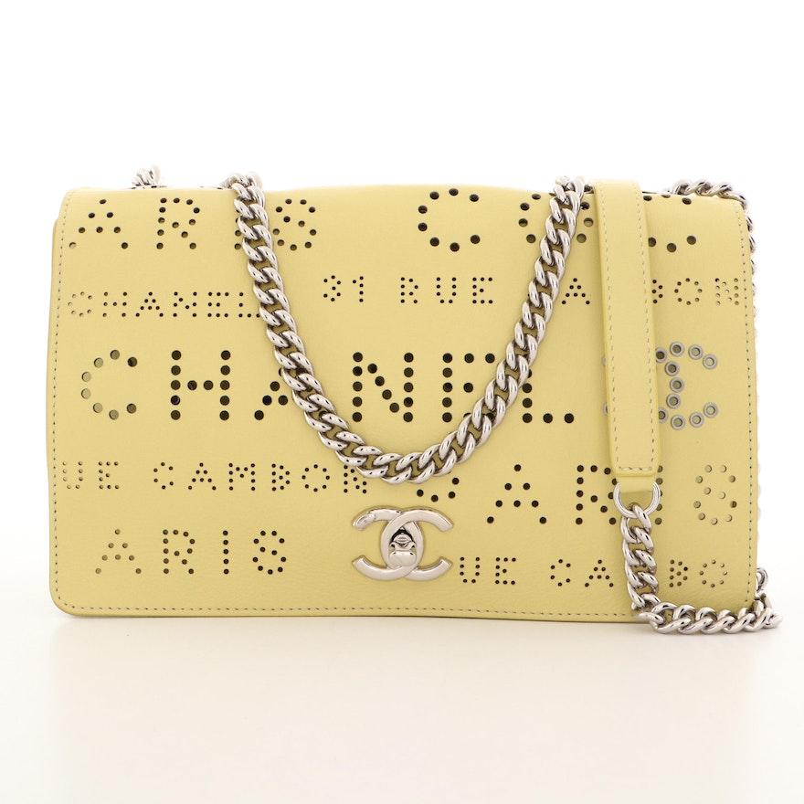 Chanel Yellow Perforated Calfskin Logo Eyelets Flap Bag