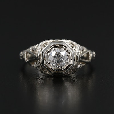 Edwardian 18K Gold Diamond Ring with Engraved Details