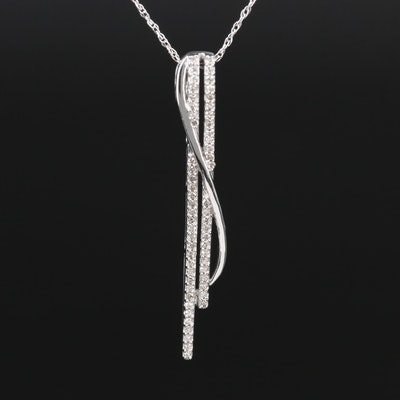 10K White Gold Diamond Bar Pendant Necklace