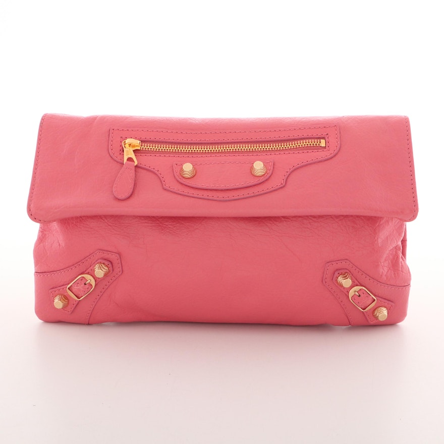 Balenciaga Pink Grained Leather Giant Studs Envelope Clutch with Shoulder Strap