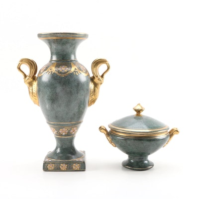 Toyo Chinese Porcelain Urn Vase and Lidded Dish