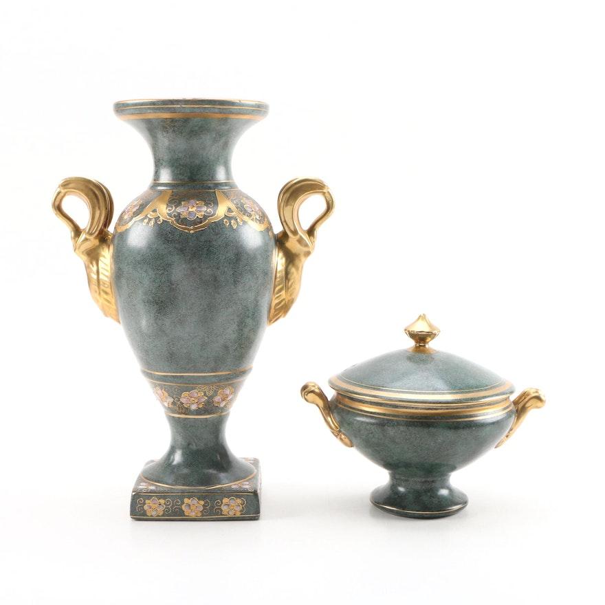Toyo Chinese Porcelain Urn Vase and Lidded Dish
