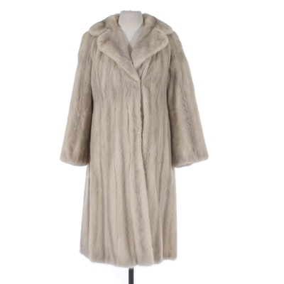 Tourmaline Mink Fur Coat with Wide Notched Collar, Vintage
