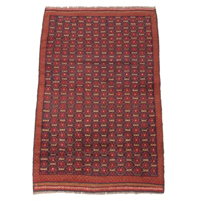 2'9 x 4'5 Hand-Knotted Afghani East Turkestan Turkoman Rug, 1980s