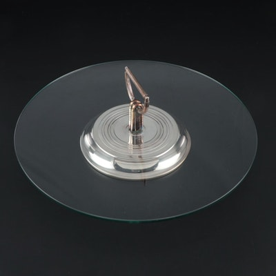 """Christofle Crystal """" Vibrations"""" Hors D'oeuvres Tray, Mid Century"""