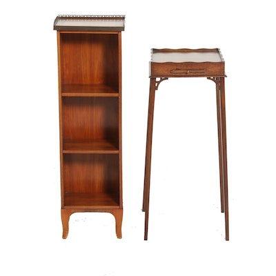 Directoire Style French Curio Shelf and Small Wood Side Table, Mid-20th Century