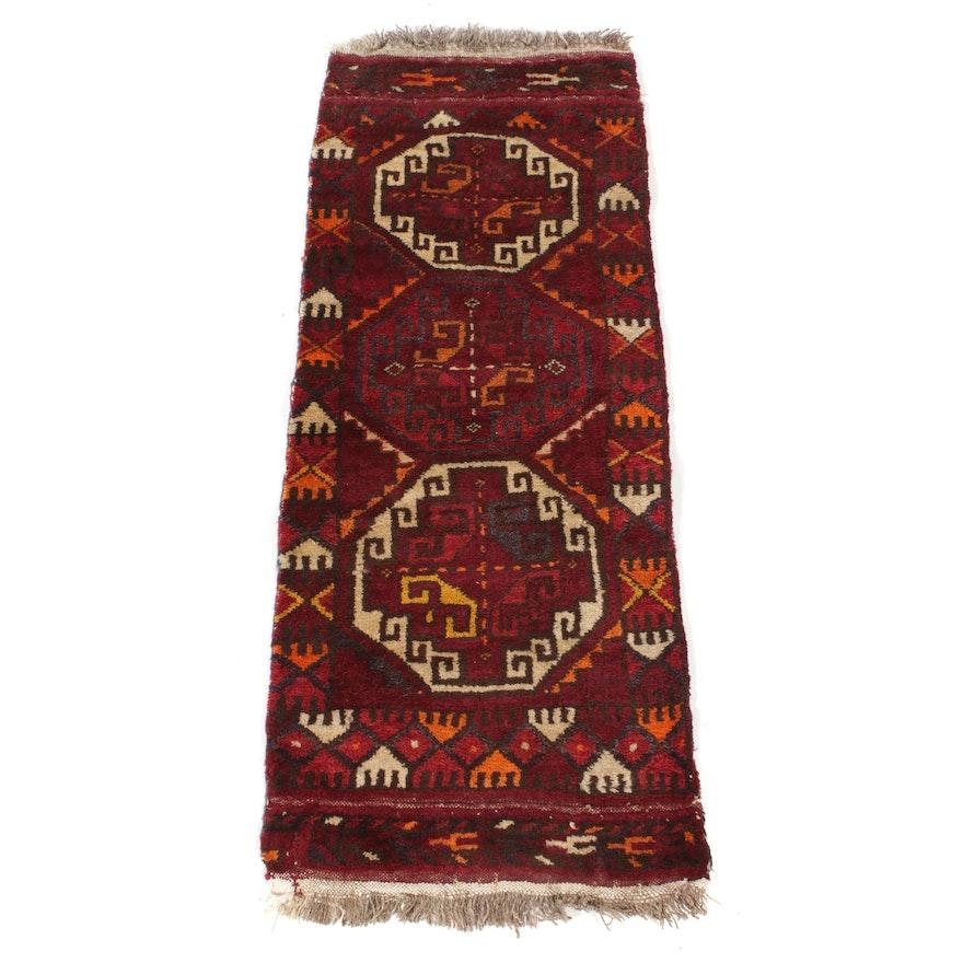 1'6 x 3'11 Hand-Knotted East Turkestan Turkoman Rug, 1920s