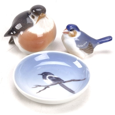 Royal Copenhagen Hand-Painted Bird Figurines and Danish-Painted Dish