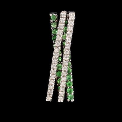 14K White Gold Tsavorite and Diamond Crossover Bar Pendant