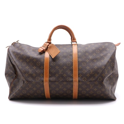 Louis Vuitton Keepall 60 Travel Duffel in Monogram Canvas and Vachetta Leather