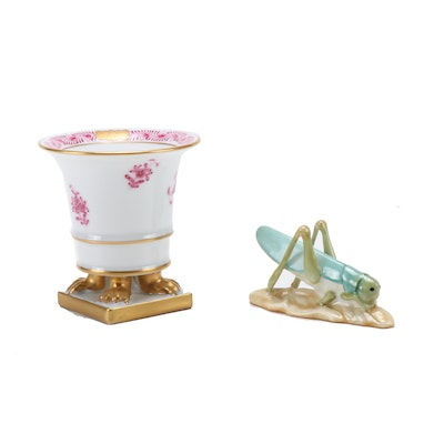 "Herend ""Chinese Bouquet"" Porcelain Claw footed Urn and Grasshopper Figurine"