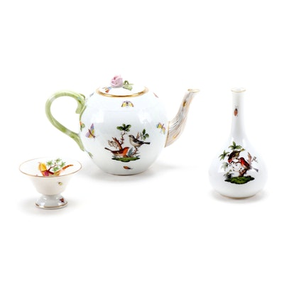 "Herend ""Rothschild Bird"" Porcelain Teapot, Bud Vase and Pedestal Bowl"