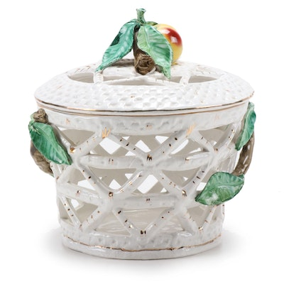 Reticulated Italian Porcelain Lidded Basket Bowl