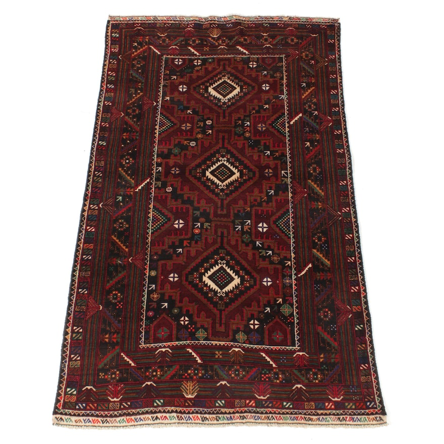 3'9 x 6'7 Hand-Knotted Persian Baluch Rug, 1980s