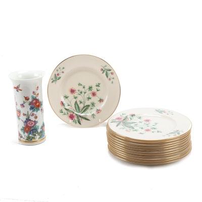 "Lenox ""Saxony"" Vase and Set of Twelve ""Country Garden"" Plates"
