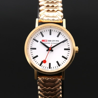 Mondaine Official Swiss Railways Ecomatic Brass Wristwatch