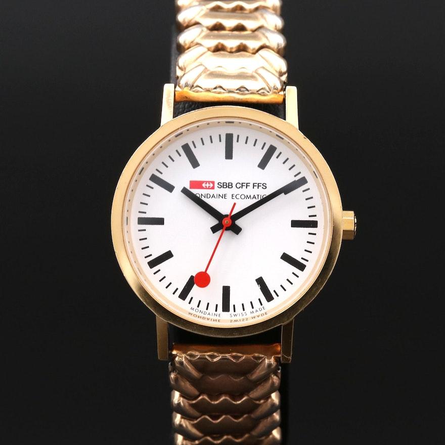 Mondaine Official Swiss Railways Ecomatic Brass Wristwatch Ebth