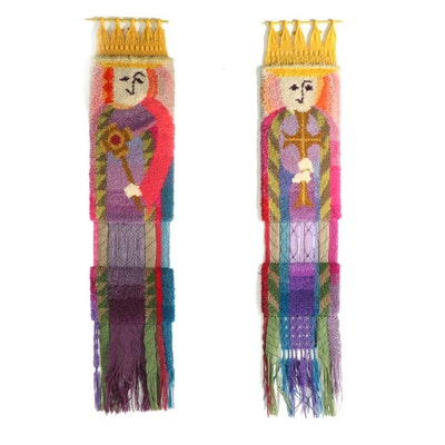 Handmade Macrame King and Queen Wall Hangings, Mid-20th Century