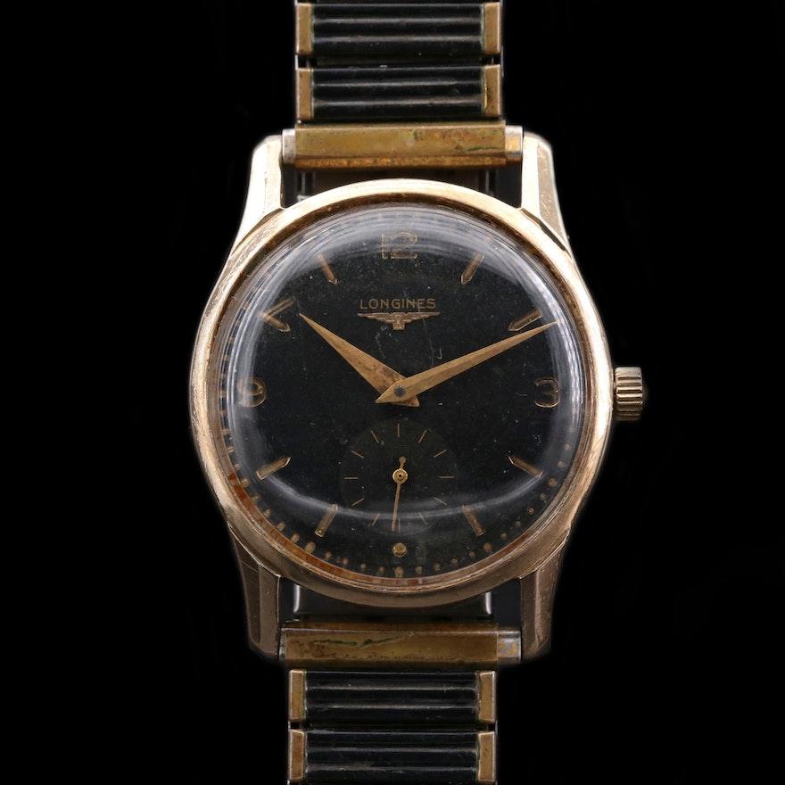 Vintage Longines 10K Gold Filled Stem Wind Wristwatch, 1952