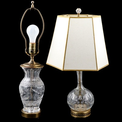 Cut Crystal Table Lamps, Late 20th Century